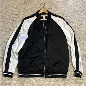 H&M satin contrast sleeve bomber jacket